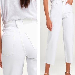 PISTOLA Cher High-Rise Crop Wide-Leg Jeans - White